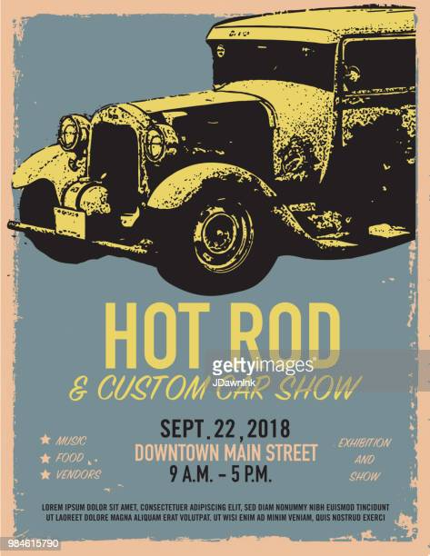 Hot Rod Classic car show and exhibition advertisement poster design template