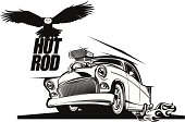 Hot rod classic car with flying eagle black and white