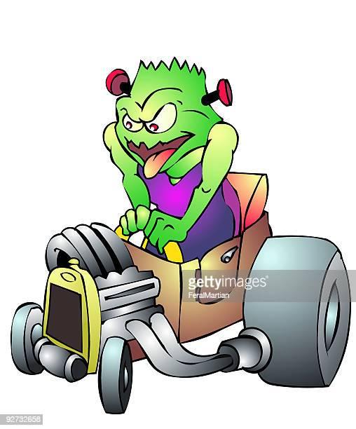 hot rod creature - street racing stock illustrations, clip art, cartoons, & icons