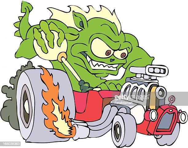hot rod dragon - gearshift stock illustrations, clip art, cartoons, & icons