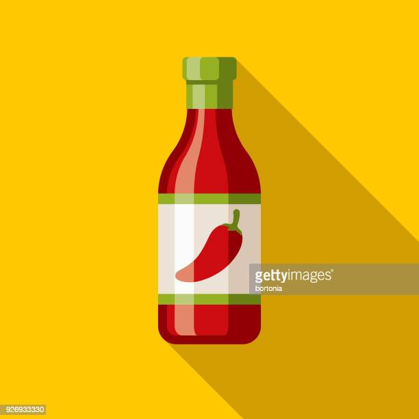 hot sauce flat design mexico icon with side shadow - pepper seasoning stock illustrations