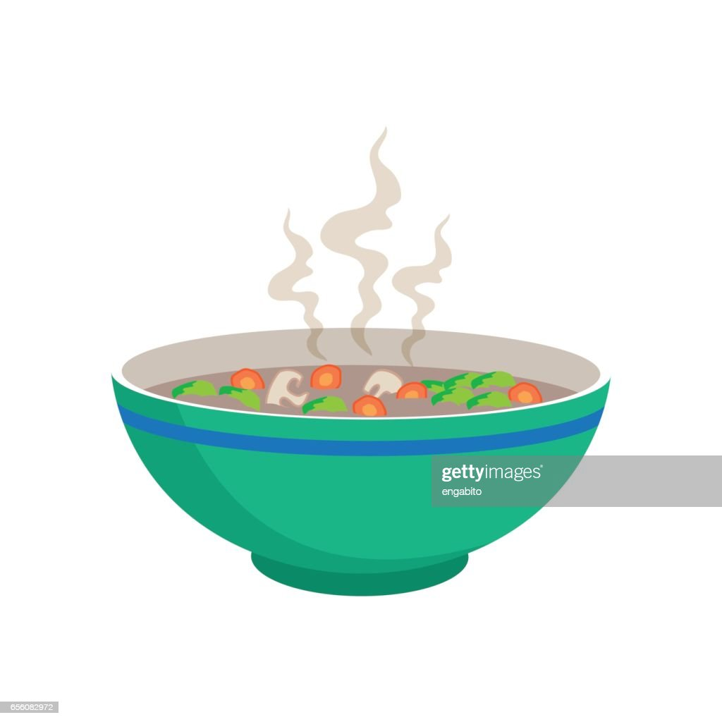 hot sausage soup with vegetable and mushroom in chinese bowl and spoons