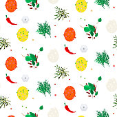 Hot spices vector seamless pattern