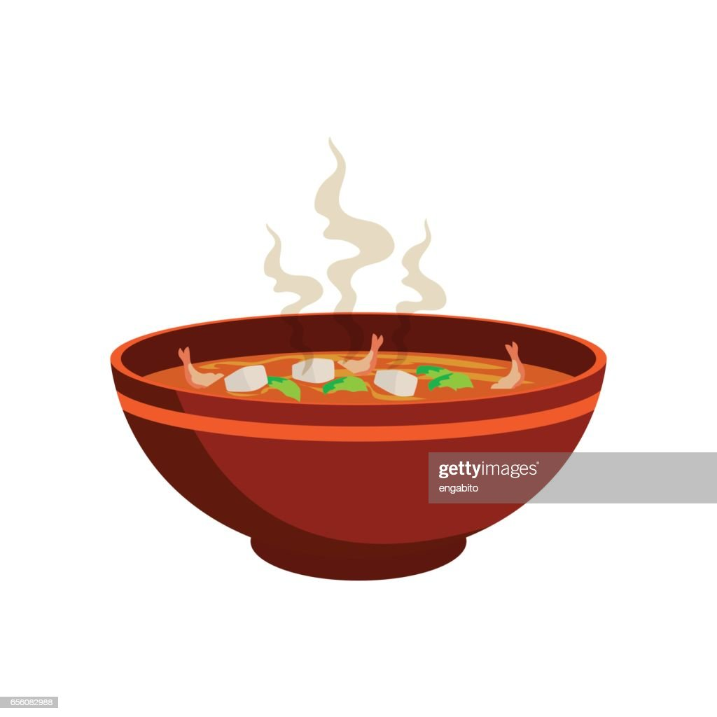 hot spicy soup with vegetable and prawn in chinese bowl and smoke effect