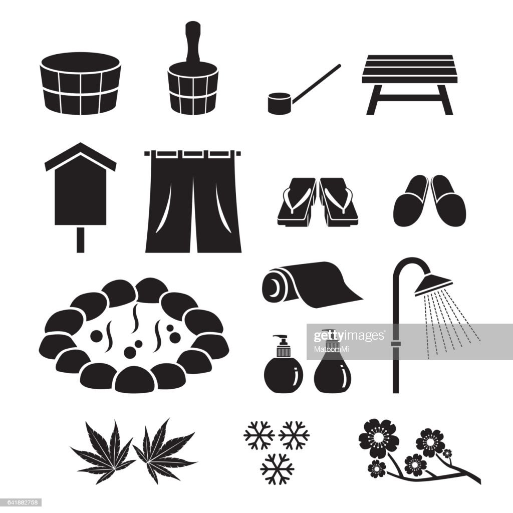 Hot Spring Objects Icons Set, Monochrome