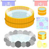 Hot spring · public bath illustration set. Japanese txt ver.