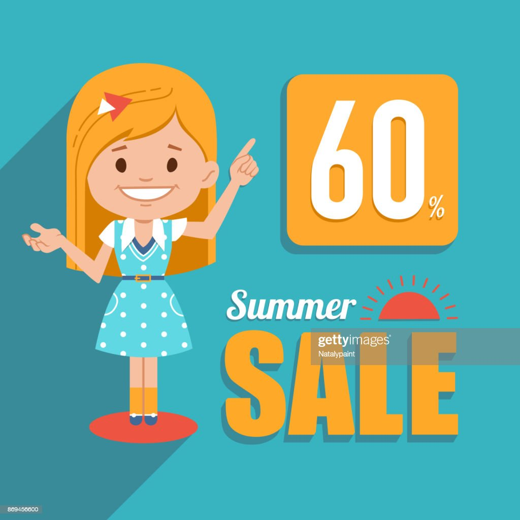 Hot summer sale banner. Shopping illustration with pretty girl character. Seasonal sale. Discount 60. Big summer sale.