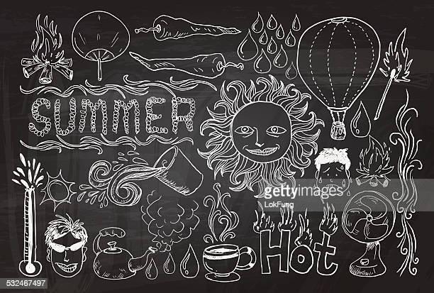 Heißer Sommer Skizze Zeichnung Kollektion