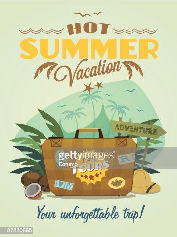 Hot Summer Vacation Poster Vector Art