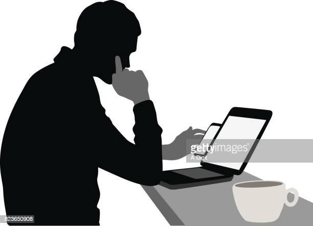 hot tea laptop - young adult stock illustrations, clip art, cartoons, & icons