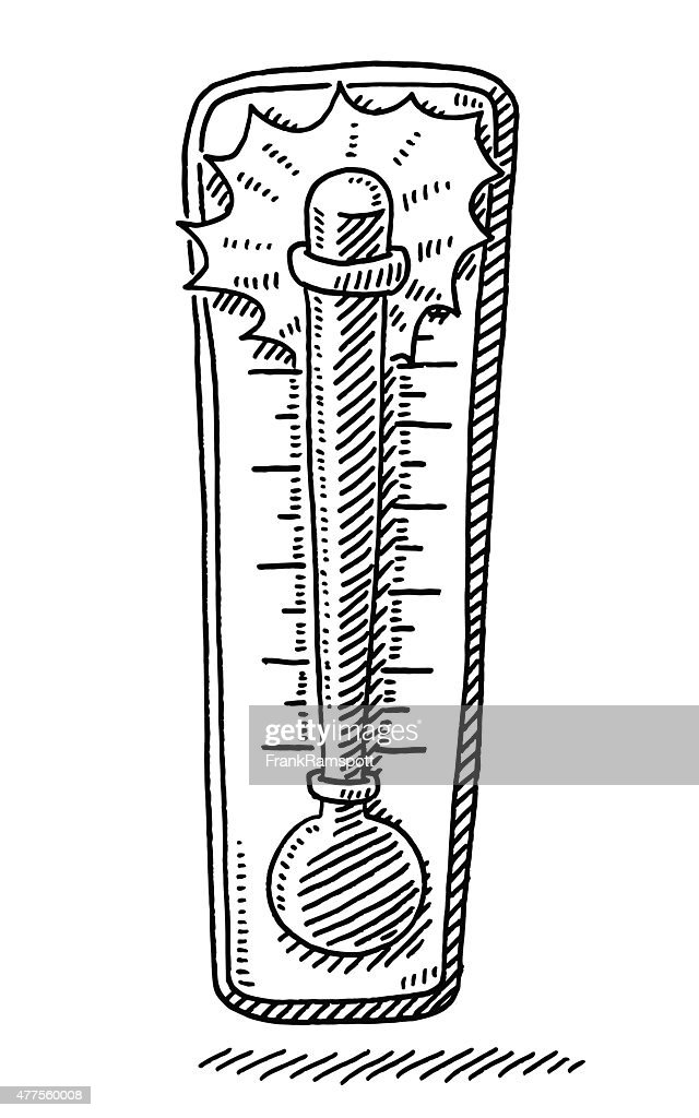 Hot Temperature On Thermometer Drawing Vector Art | Getty ...
