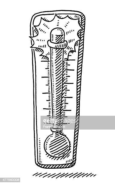 hot temperature on thermometer drawing - fahrenheit stock illustrations