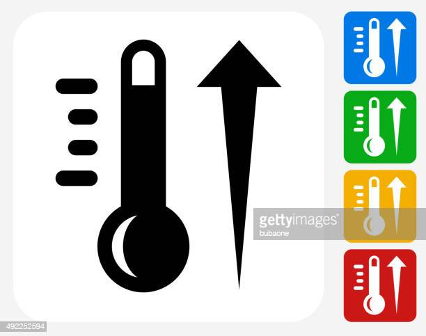 Hot Thermometer Icon Flat Graphic Design