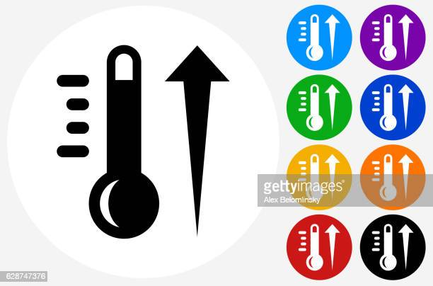 Hot Thermometer Icon on Flat Color Circle Buttons