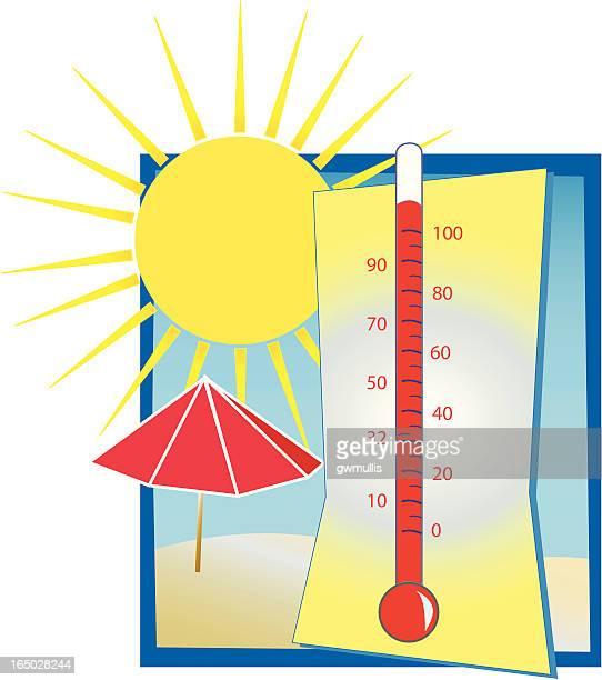 ilustraciones, imágenes clip art, dibujos animados e iconos de stock de termómetro caliente - termometro mercurio