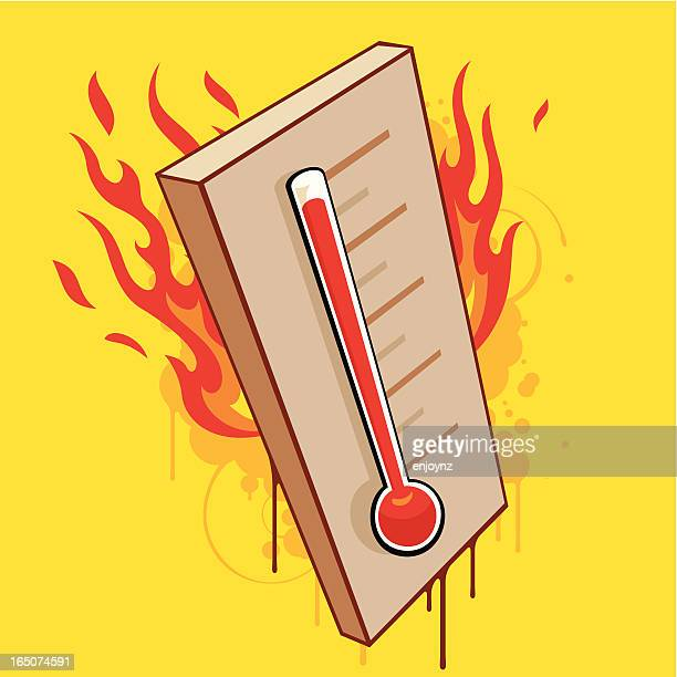 hot thermometer - fahrenheit stock illustrations