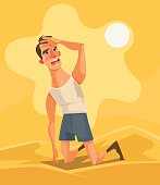 Hot weather and summer day. Tired unhappy man character in desert