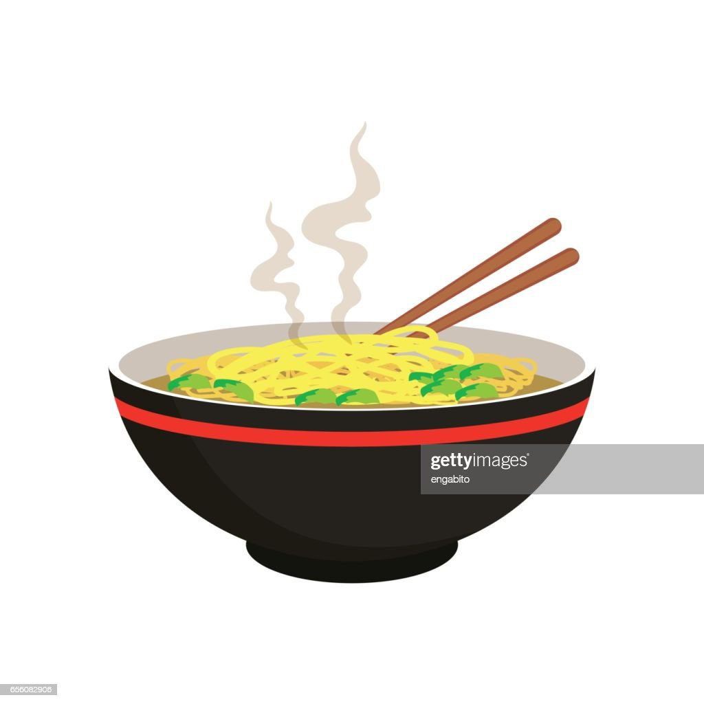 hot yellow and white noodle soup in chinese bowl and chopstick