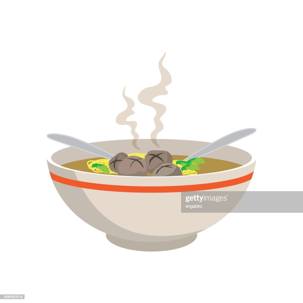 hot yellow noodle soup with meat balls in chinese bowl