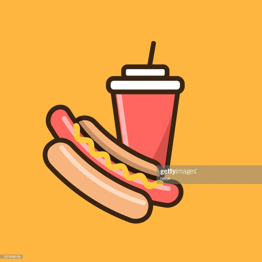 Hotdog and soft drink icon
