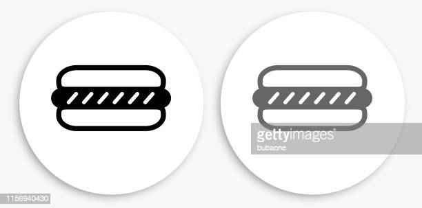 hotdog black and white round icon - bun bread stock illustrations, clip art, cartoons, & icons