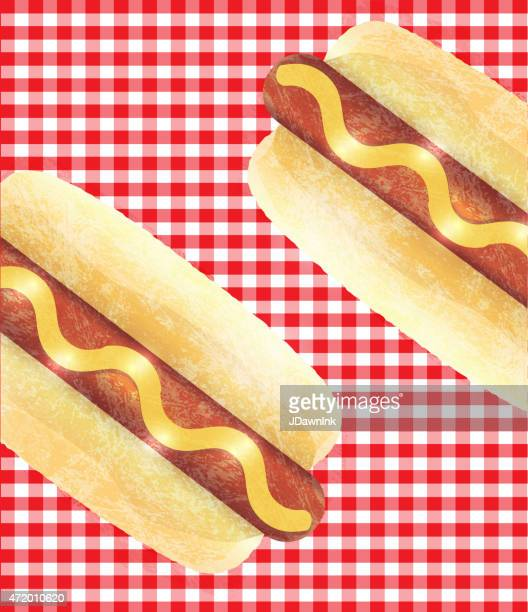 hotdogs on checkered tablecloth background - tablecloth stock illustrations, clip art, cartoons, & icons