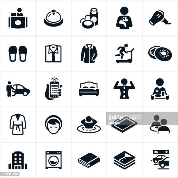 hotel amenities icons - hotel reception stock illustrations, clip art, cartoons, & icons