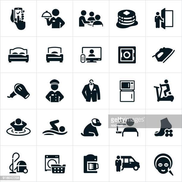 hotel amenities icons - hotel stock illustrations