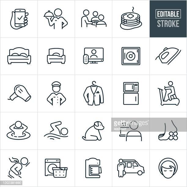 hotel amenities thin line icons - editable stroke - hotel stock illustrations