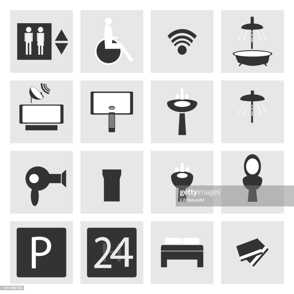 Hotel and Hospital Service and Facilities Icons