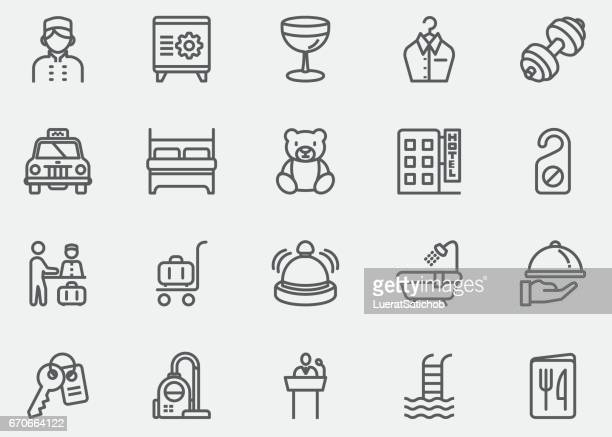 hotel and services line icons | eps10 - office safety stock illustrations, clip art, cartoons, & icons