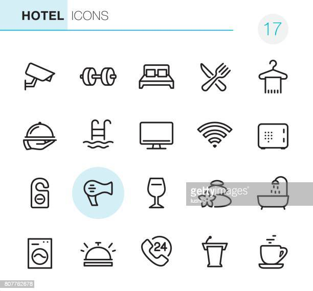 hotel and travel - pixel perfect icons - security camera stock illustrations