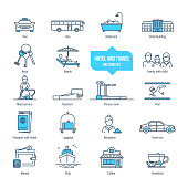Hotel and travel thin line icons, pictogram, symbol set