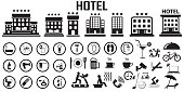 hotel bed room travel vacation service illustration flat icons. mono vector symbol.