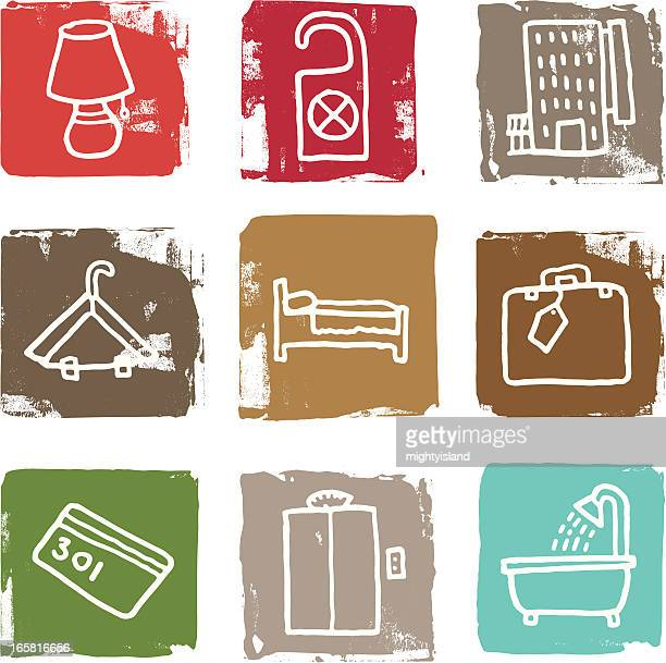 hotel block icon set - security pass stock illustrations, clip art, cartoons, & icons