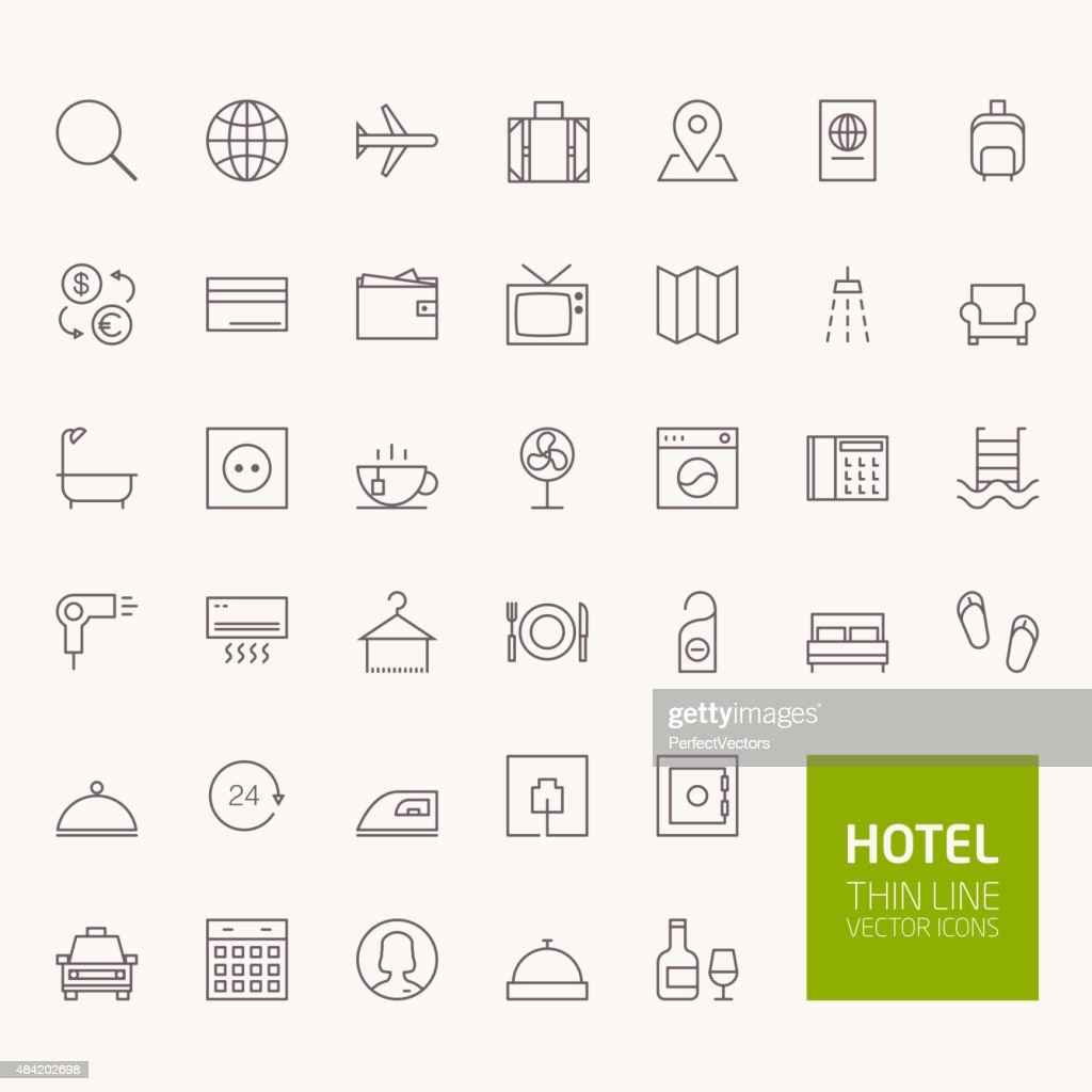 Hotel Booking Outline Icons for web and mobile apps