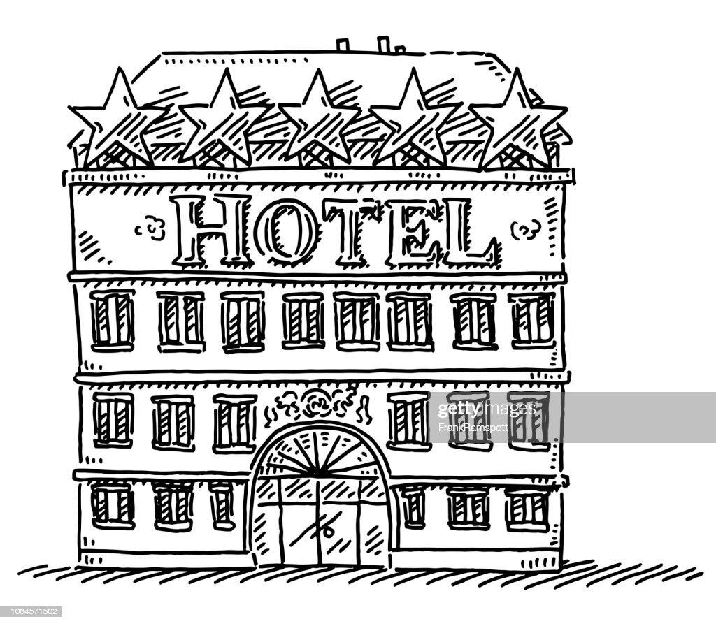 Hotelgebäude Zeichnung : Vektorgrafik
