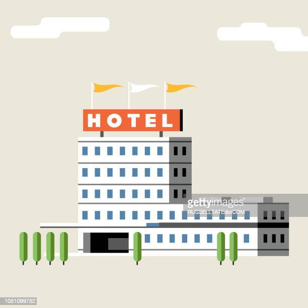 hotel building + flags - hotel stock illustrations