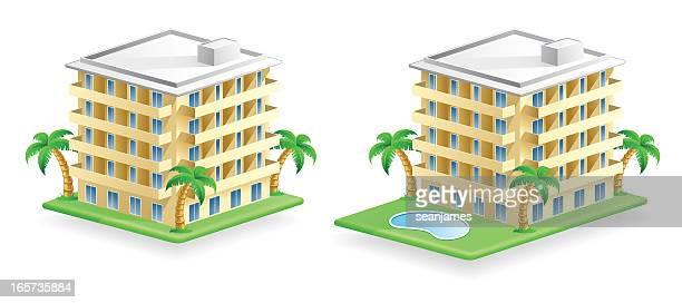hotel building icons - tourist resort stock illustrations, clip art, cartoons, & icons