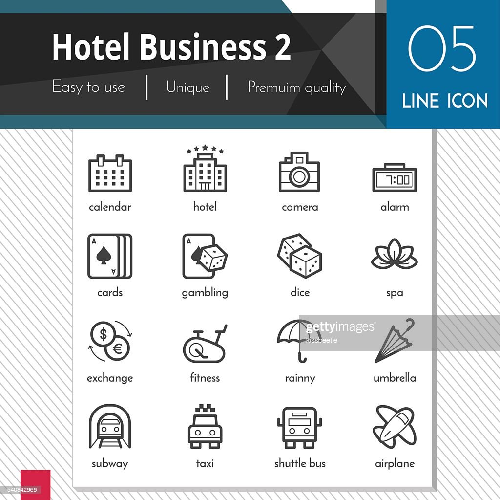 Hotel Business elements set 2 vector black icons.