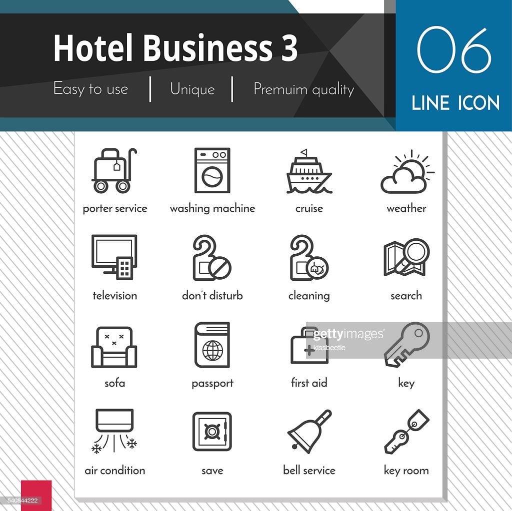 Hotel Business elements set 3 vector black icons.