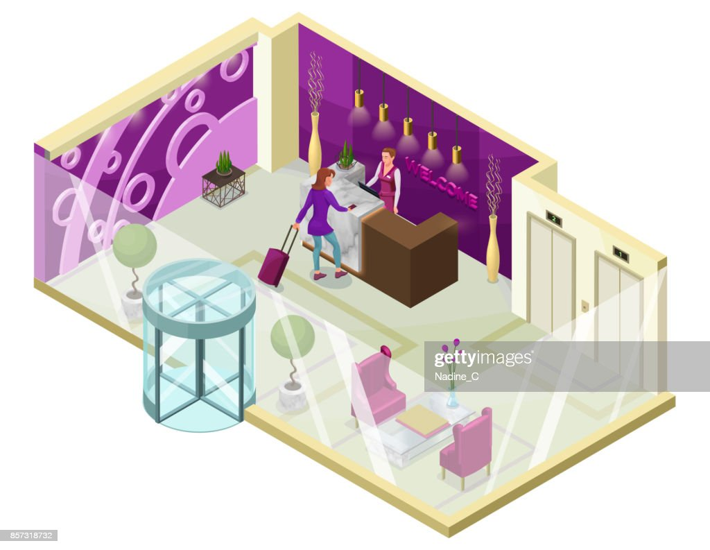 Hotel check in isometric 3d illustration with people, lobby, reception desk, marble furniture, trendy interior design, inside room view