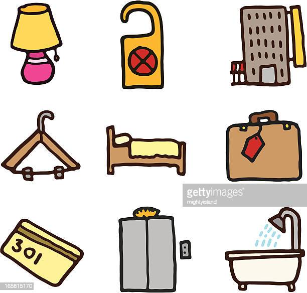 hotel doodle icons - security pass stock illustrations, clip art, cartoons, & icons
