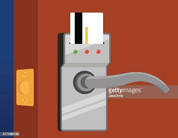 hotel door handle - access control stock illustrations, clip art, cartoons, & icons