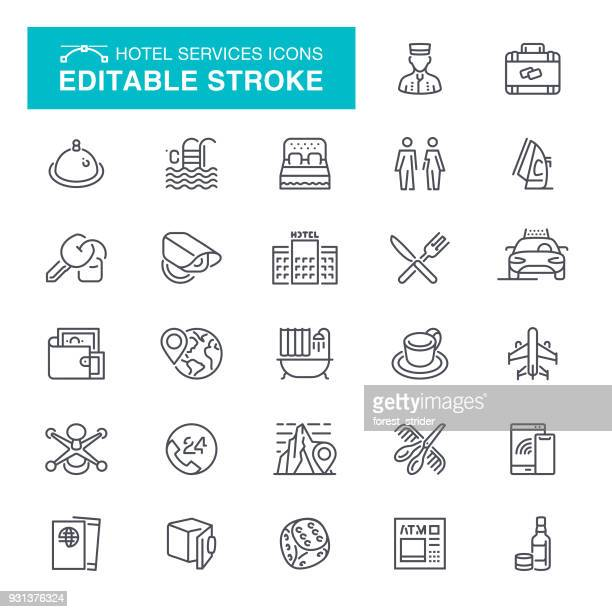 hotel editable stroke icons - hotel stock illustrations
