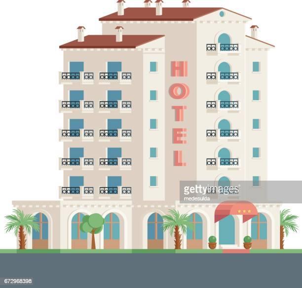 hotel facade - tourist resort stock illustrations, clip art, cartoons, & icons
