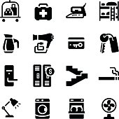 Hotel Facilities Amenities Vector Icon Set