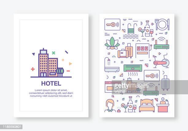 illustrations, cliparts, dessins animés et icônes de hôtel facilities concept line style cover design for annual report, flyer, brochure. - tourisme