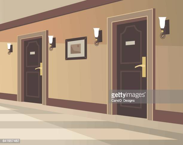 hotel hallway - corridor stock illustrations, clip art, cartoons, & icons