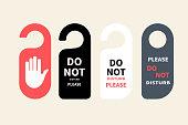 Hotel hanger sign, door knob. Do not disturb. Do Not Disturb Sign. Hotel Door Hanger Tags, Messages please do not disturb.
